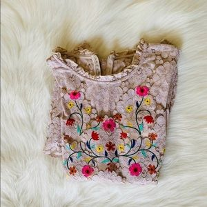 Sequin hearts floral lace dress